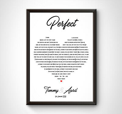 PERSONALISED Wedding Anniversary Song Lyrics Couple Love Gift Idea A4 A3 HEART