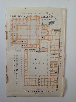 Basilica Di S. Marco, Palazzo Ducale Plan, Italy, 1909 Antique Map