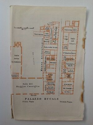 Palazzo Ducale Plan, Italy, 1909 Antique Map