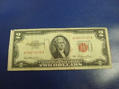 1953 - $2 USA note - American two dollar bill - A 05470105 A
