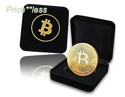 Bitcoin Coin with Showcase Box: Physical Bitcoin Coin in Gold Colored Plating wi