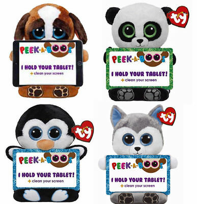 Ty Peek A Boo Tablet Holder Buddy Plush  With Screen Wipe - 6 To Choose From