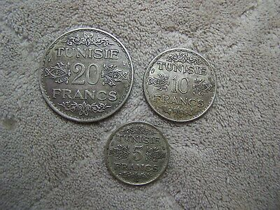 Tunisian Silver coins, lot of 3, 1930s - 20, 10 and 5 Francs
