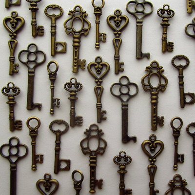 LOT OF 48 vintage style ANTIQUE SKELETON CHARMS FURNITURE OLD LOCK KEYS Copper