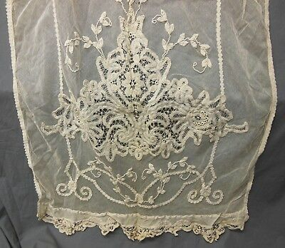 Antique Vtg Handmade Cream Ecru Brussels Belgium PRINCESS LACE Curtain Panel #3