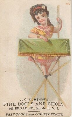 J O Tichenor's Boots and Shoes Child Victorian Trade Card