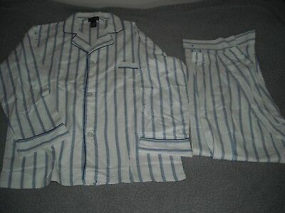 New Vintage DIPLOMAT Light Blue STRIPE Front Closure COTTON PAJAMA SET  MEDIUM