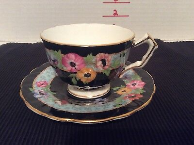 Aynsley Black Tea Cup And Saucer