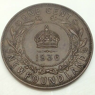 1936 Canada Newfoundland One 1 Cent Large Penny Circulated Canadian Coin D871