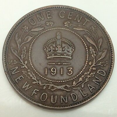 1913 Canada Newfoundland One 1 Cent Large Penny Circulated Canadian Coin D873