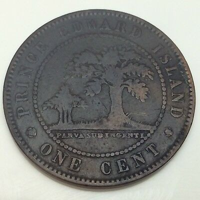 1871 PEI Canada One 1 Cent Large Penny Circulated Canadian Coin D875