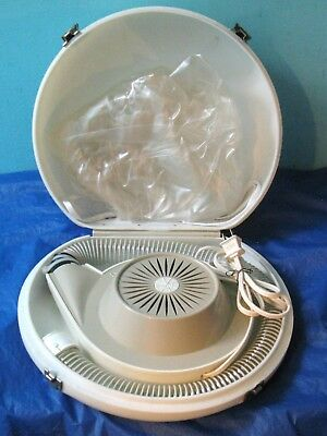 Vintage General Electric GE Deluxe Hairdryer Hair Dryer Blower Bonnet Case Ivory