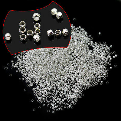 New 2mm 2000pcs Silver Plated Crimp Findings Beads-Jewelry Making Accessories