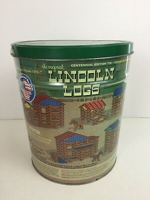 LINCOLN LOGS Centennial Edition Tin 153 Pieces Ages 3+ Preschool Building Toy