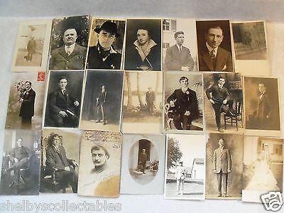 EARLY RPPC MEN GUY'S Y & O! WWI ERA & BEFORE POSTCARD LOT OF 21 REAL PHOTO PC a