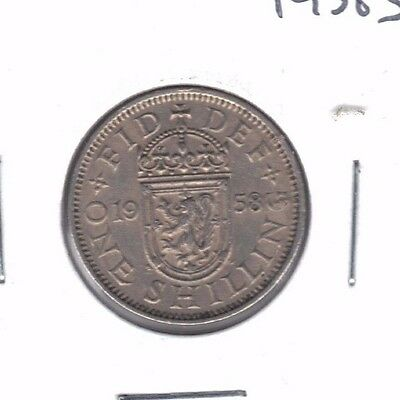 Great Britain 1958 Scotish Crest One Shilling Coin