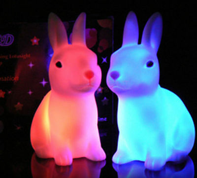 Rabbit Shape Hotsale Color Changing LED Lamp Night Light Home Party Decor Gift