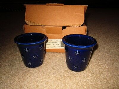 Longaberger Proudly American blue votive set  in the box new