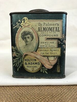 ANTIQUE VINTAGE ADVERTISING TIN Dr. Palmers ALMOMEAL Compound Powder GIBSON GIRL