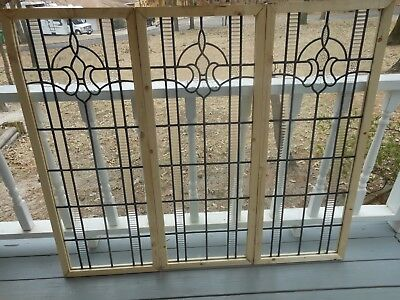V-304B Lovely Leaded Glass Window From England Reframed   3 Available