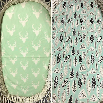 Bassinet Moses Boori Stokke mini cotton fitted sheet mint stag head feathers