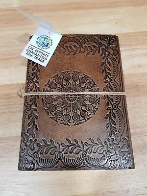 Oxfam Fair Trade Mandala Leather Handmade Journal Travel Notebook Diary Embossed