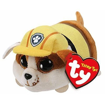 """Ty Beanie Boos 4"""" Teeny Tys Paw Patrol RUBBLE w/ Heart Tags MWMT's Stackable"""