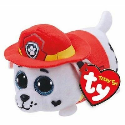 """Ty Beanie Boos 4"""" Teeny Tys Paw Patrol MARSHALL w/ Heart Tags MWMT's Stackable"""