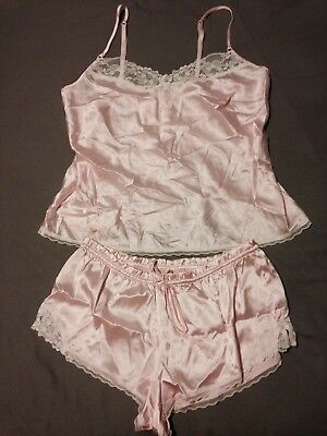 Pink Satin Victoria's Secret French Knickers & Camisole Set NWOT Size M Lingerie