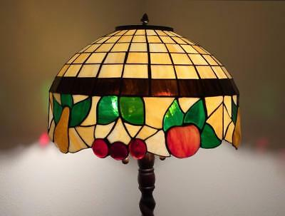 Antique leaded stained glass lamp shade with bent glass fruit design 20""