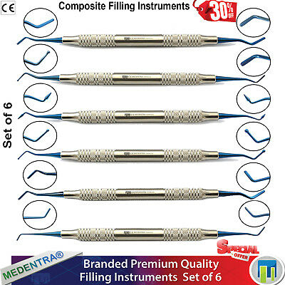 Blue Titanium Dental Filling Composite instruments Burnishers Scalers Spatula X6