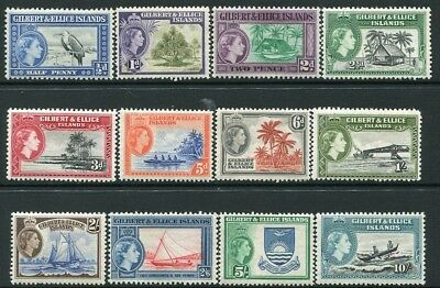 GILBERT & ELLICE ISLANDS-1956-62 Set to 10/- Sg 64-75 LIGHTLY MOUNTED MINT