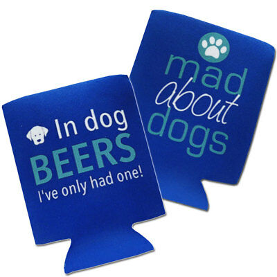 Set of 2 DOG THEMED Neoprene Fold Flat Can / Stubbie Coolers