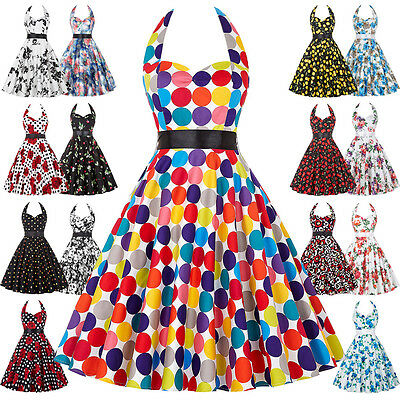 1940's 50's Style Vintage Floral ROCK N ROLL Swing Wiggle Short Prom Party Dress