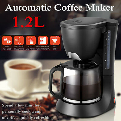 Electric Coffee Maker Espresso Machine Pot Drip Filter Household 1.2L 10-Cup