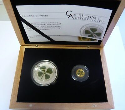 Ounce of Luck 1oz Silver Real $5 Four Leaf Clover 1g Gold coin $1 BOX Palau 2018