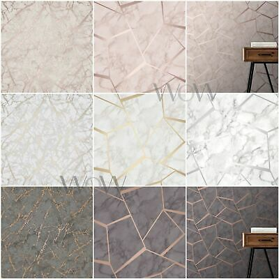Fine Decor Metallic Marble Wallpaper Smooth Finish Rose Gold