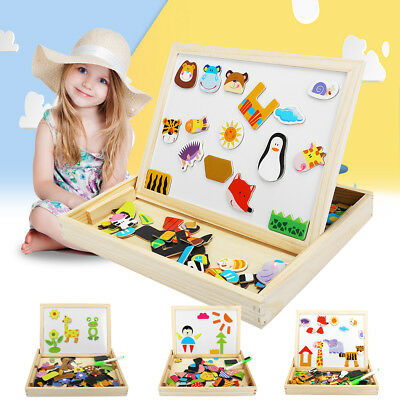 Kids Educational Wooden Double Side Magnetic Drawing Board Jigsaw Puzzle Toys