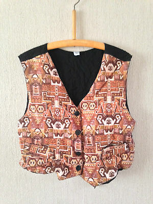 """Vintage Black Waistcoat with a Brown/Beige Aztec Style Front - Size Large 40"""""""