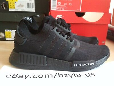 9f445cd79654e ADIDAS NMD R1 Primeknit Pk Japan Triple Black Bz0220 Size 6-12 ...