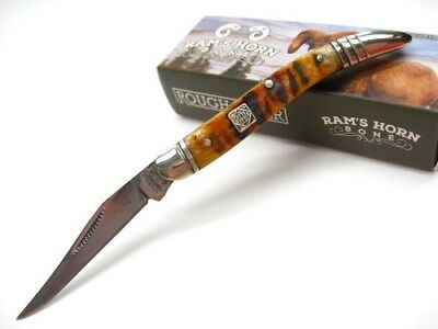 ROUGH RIDER Brown RAM HORN TOOTHPICK Straight Folding Pocket Knife New! RR1548