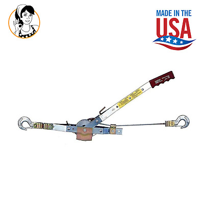 Winch Rope Puller 1-Ton 12' Capacity Heavy-Duty Come Along Puller Cable USA MADE