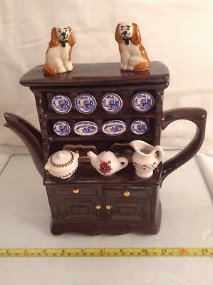 Teapottery Swineside Novelty Collectable Teapot Willow Dresser King Charles Dogs