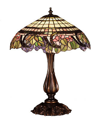 "Meyda Lighting Tiffany 19"" & 28""H Handel Grapevine Table Lamp Stained Glass"