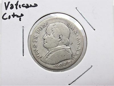 1867 Pope Pius IX Vatican City Italy States Papal 1 Lira Silver Coin Free S/H