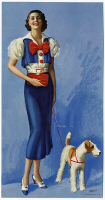 Vint. 1935 Rolf Armstrong Prize Winning Picture Art Deco Pin-Up & Airedale Print