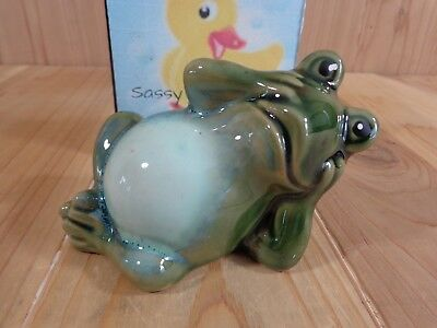 "GREEN FROG FIGURINE 4"" Laying on Side Relaxing Ceramic"