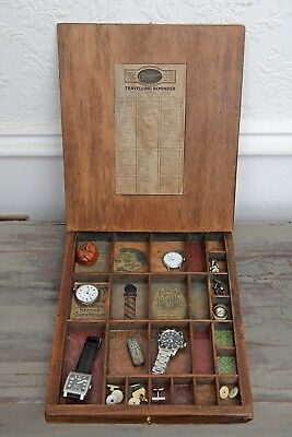 Lovely Vintage Industrial Style Mens Wooden Cufflinks Box Cabinet / Hipster Case