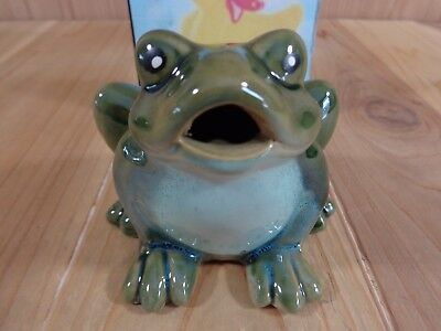 "GREEN FROG FIGURINE 4"" Sitting Croaking Mouth Open Ceramic"