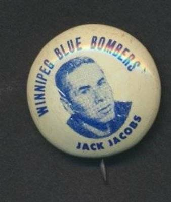 Jack Jacobs - 1952-53 Winnipeg Blue Bombers  Team Issue Pin/ Button Rare Vintage